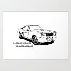 Mustang Elsinore line drawing Art Print
