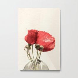 Poppies In Vase Metal Print
