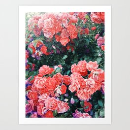 Psychedelic summer florals Art Print
