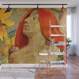 Redheaded woman and sunflowers by Paul Gauguin Wall Mural