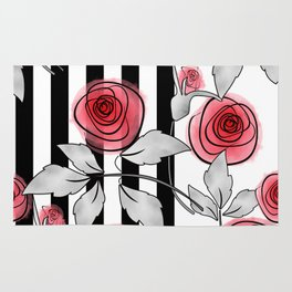 Red roses on black and white striped background. Rug