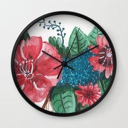 Ruby Botanical Floral Watercolor Wall Clock