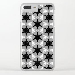 Black Medallions on grey Clear iPhone Case