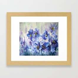 Watercolor Poppies and Lilies Framed Art Print