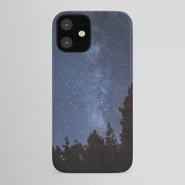 Starry night with the Milky Way in a pine forest iPhone Case