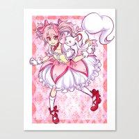madoka magica Canvas Prints featuring Madoka by Alyssa Tye
