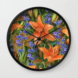 Lilies & Lavender Wall Clock