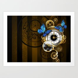 Silver Watches with Blue Butterflies ( Steampunk ) Art Print