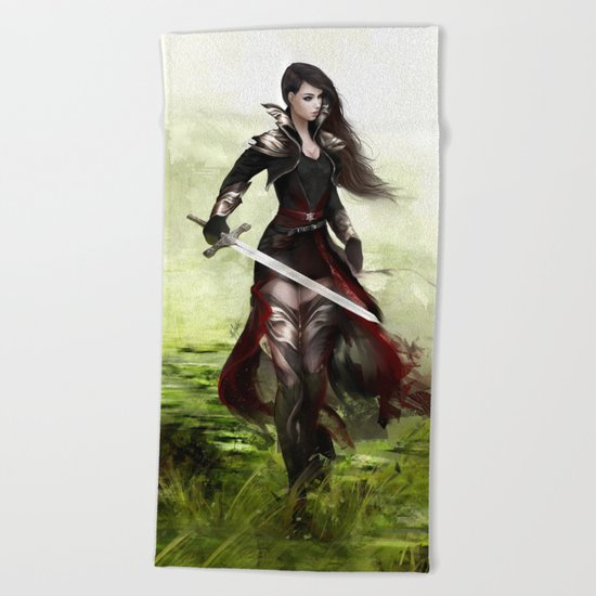 Lady knight - Warrior girl with sword concept art Beach Towel