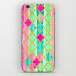 Moroccan Tile Pattern In Neon Pink And Green iPhone Skin