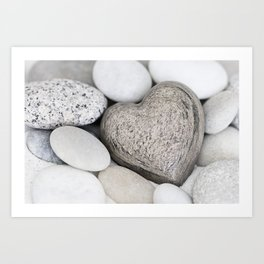 Stone Heart and pebble greige tones Art Print