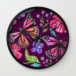 Butterflies on Purple Wall Clock