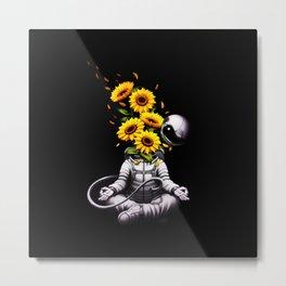 Meditation Astronaut Spring Metal Print