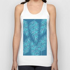 Fern Pattern On Blue Background Unisex Tank Top