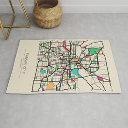 Colorful City Maps: Kansas City, Missouri Rug