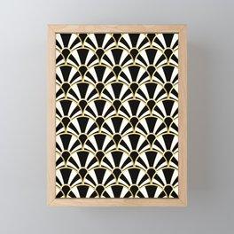 Black, White and Gold Classic Art Deco Fan Pattern Framed Mini Art Print