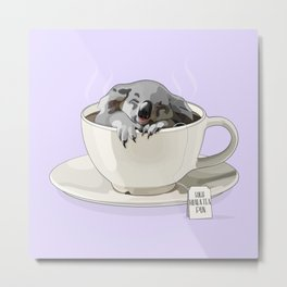 High Koala-Tea Pun in a Teacup Metal Print