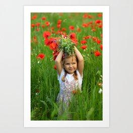 Girl in the summer field of blooming poppy flowers  Art Print