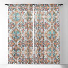 Seamless Floral Pattern Ornamental Tile Design  3 - Red Sheer Curtain