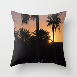 Backlight with palm trees Throw Pillow