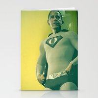 obama Stationery Cards featuring super obama by fotografismi.com