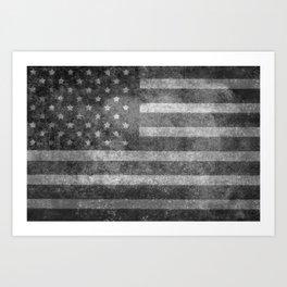 US flag, Old Glory in black & white Art Print