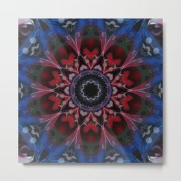 Blue Pink and White Abstract Tile 44 Metal Print