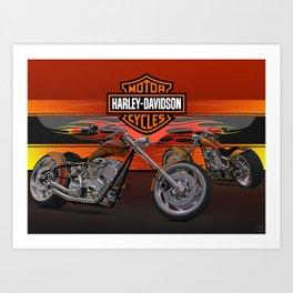 #HarleyDavidson Custom 3d design by #ScottBates Art Print