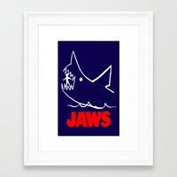 jaws Framed Art Prints featuring Jaws by IIIIHiveIIII