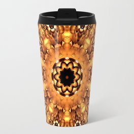 Yellow Brown Mandala Abstract Flower Travel Mug