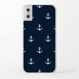 Dark Blue Anchor Pattern Clear iPhone Case