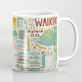 Waikiki Honolulu typographic print Coffee Mug