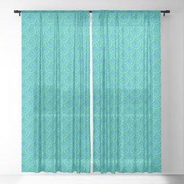 Teal Parasols Pattern Sheer Curtain