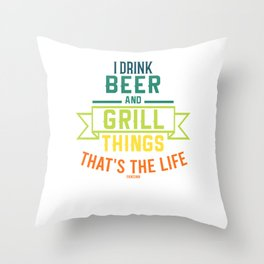 Grill meat sausage fish fry BBQ Throw Pillow