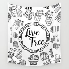 Live Free Pen Sketch Wall Tapestry