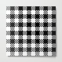Black and white gingham pattern Metal Print