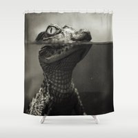 crocodile Shower Curtains featuring Baby crocodile by VikaValter
