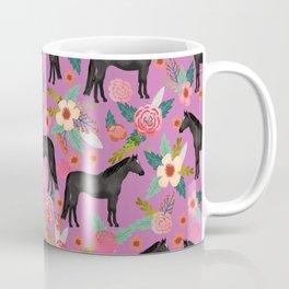 black beauty, mare, horse, horses, floral, florals, black horse, horse bedding, horse decor, cowgirl Coffee Mug
