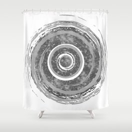 Silver Watercolor Spiral Shower Curtain