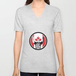 Canadian Football Referee Canada Flag Icon Unisex V-Neck