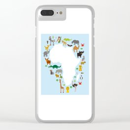 Animal Africa: parrot Hyena Rhinoceros Zebra Hippopotamus Crocodile Turtle Elephant Mamba snake Clear iPhone Case