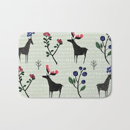 Berry loving deers on a green background Bath Mat