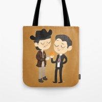 dale cooper Tote Bags featuring Truman & Cooper by Vera van Groos