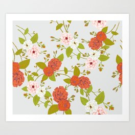 Climbing Roses, Crimson, Green, Pink and Grey Art Print