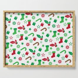 Red And Green Christmas Objects Decor Serving Tray
