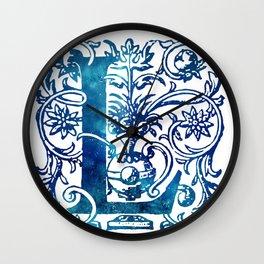 Letter L Antique Floral Letterpress Wall Clock