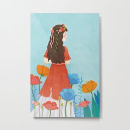 Beautiful Flower Girl Metal Print