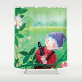 Garden Gnome with Violet Hat Illustration Shower Curtain