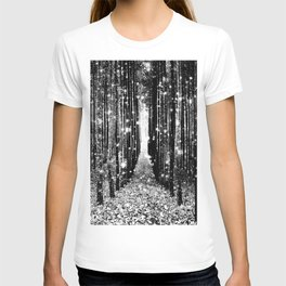 Magical Forest Black White Gray T-shirt