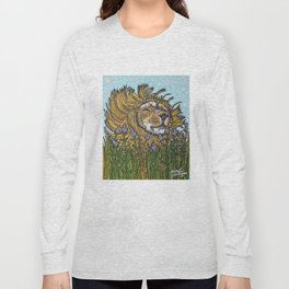 Lion in Lavender Painting Long Sleeve T-shirt